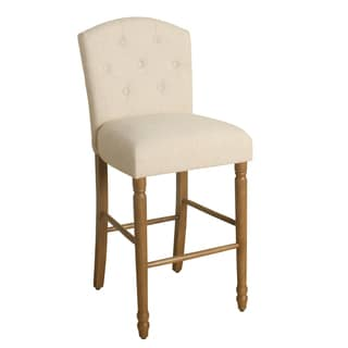 "HomePop Delilah Button Tufted Barstool Natural Linen 29"" Bar Height"