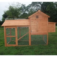 "Pawhut Deluxe Backyard Chicken Coop/ Hen House with Outdoor Run - 60.75""h x 82""w x 34.5""d"