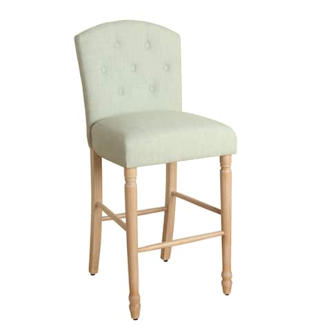 """HomePop Delilah Button Tufted Barstool Pale Blue 29"""" Bar Height"""