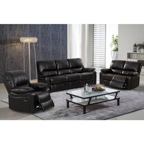 Samantha Leather Gel 3 Piece Reclining Sofa Set With Swivel Rocker Recliner Chair
