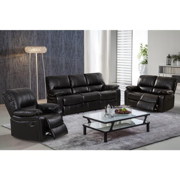 Samantha Leather Gel 3 Piece Reclining Sofa Set With