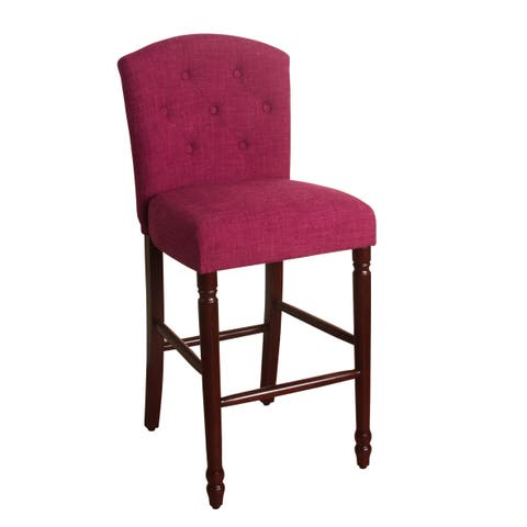 """HomePop Delilah Button Tufted Barstool Azelea Pink 29"""" Bar Height"""