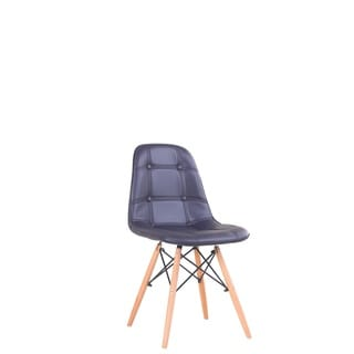 American Atelier Navy Patent Leather and Wood Chair