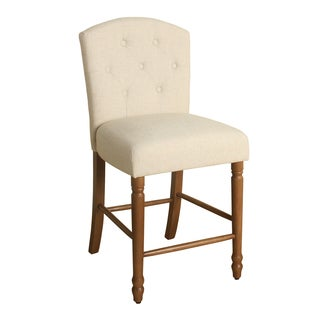 "HomePop Delilah Button Tufted Barstool Natural Linen 24"" Counter Height"