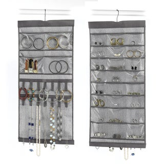 "Whitmor 6283-4895 13.5"" W X 28.5"" H Grey Hanging Jewelry Organizer"