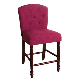 "HomePop Delilah Button Tufted Barstool Azelea Pink 24"" Counter Height"