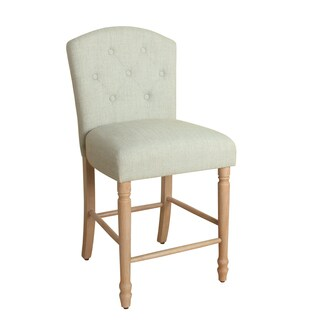 """HomePop Delilah Button Tufted Barstool Pale Blue 24"""" Counter Height"""