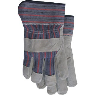 Boss Gloves 4093 Large Gray & Blue Economy Split Leather Palm Gloves