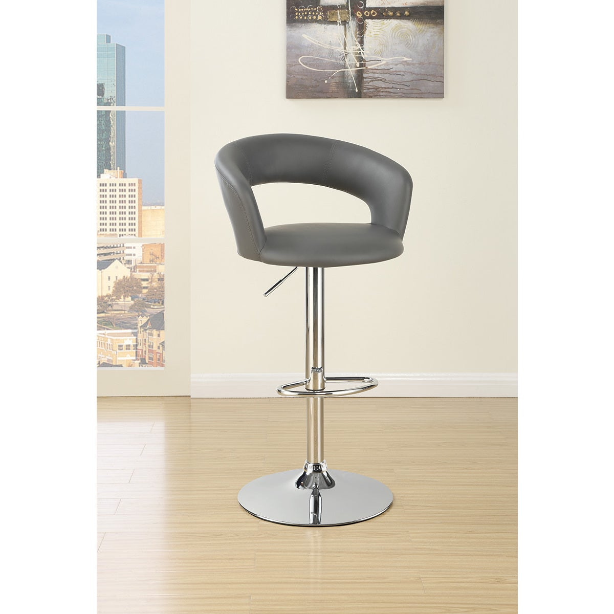 new arrivals fe081 aa9ad Silver Orchid Price Grey Padded Bar Stool