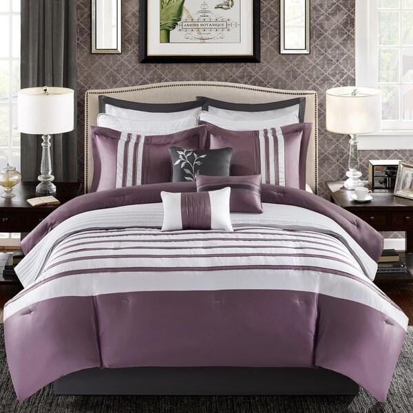 Madison Park Harlem Purple 12-piece Jacquard Comforter Set