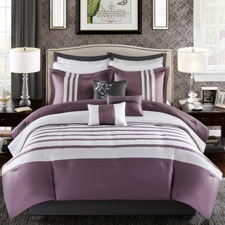 Madison Park Harlem Purple 12-piece Jacquard Comforter Set