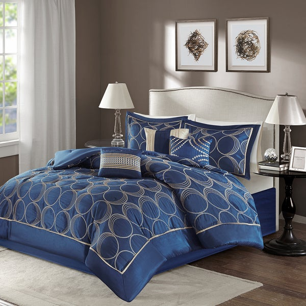 Attractive Madison Park Lenox Navy Comforter Set