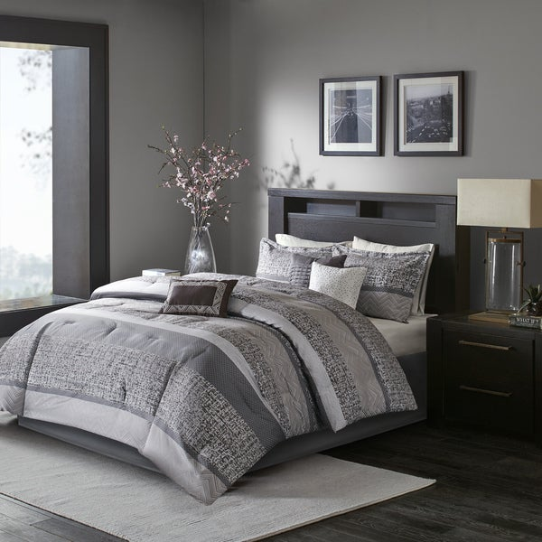 Madison Park Melody Grey/ Taupe Comforter Set