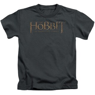 The Hobbit/Distressed Logo Short Sleeve Juvenile Graphic T-Shirt in Charcoal