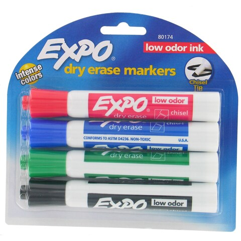 Expo 80174 Assorted Dry Erase Markers 4 Count