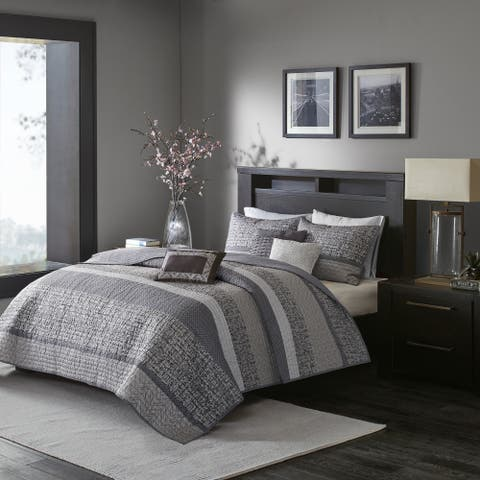 Madison Park Melody Grey/ Taupe Quilted Coverlet Set - grey/ taupe