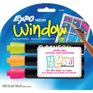 Expo 1752225 Bullet Point Dry Erase Markers Assorted Colors 3 Count