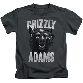 Grizzly Adams/Retro Bear Short Sleeve Juvenile Graphic T-Shirt in Charcoal