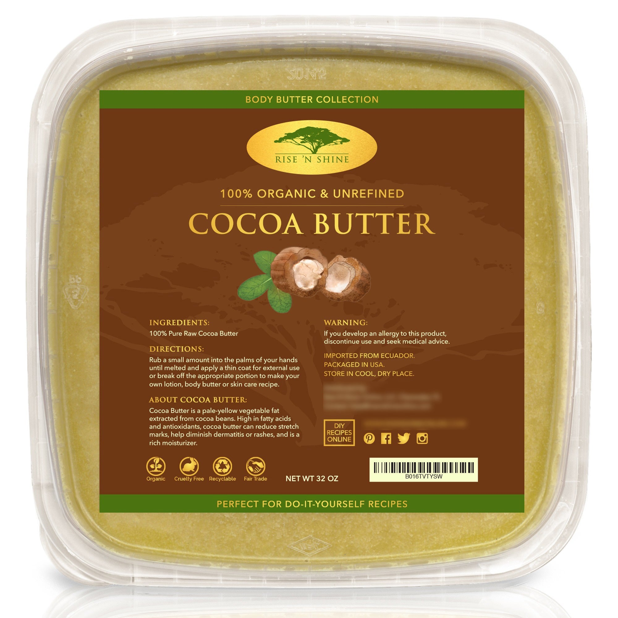 N Rise 'N Shine Bulk Raw 32 oz. Unrefined Organic Cocoa B...