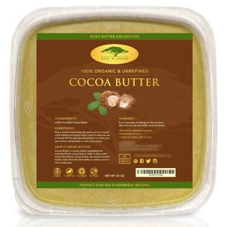 Rise 'N Shine Bulk Raw 32 oz. Unrefined Organic Cocoa Butter for Lotion, Shampoo, Lip Balm and Hand Cream Recipes
