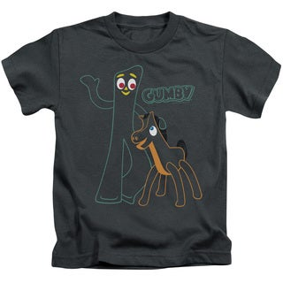 Gumby/Outlines Short Sleeve Juvenile Graphic T-Shirt in Charcoal