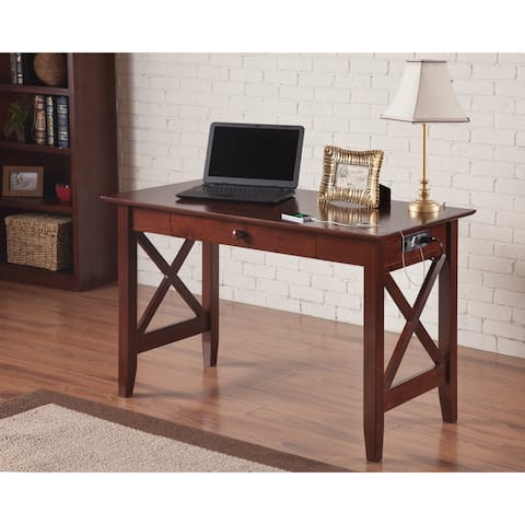 Lexi Desk with Drawer and Charging Station in Walnut