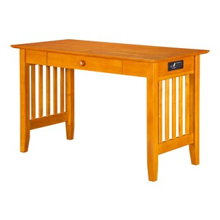 Atlantic Furniture Mission Caramel Latte Wood Mission Desk with Drawer and USB Charging Station