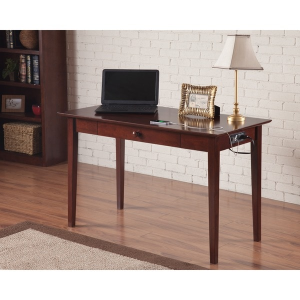 Atlantic Furniture Shaker Walnut Wood Desk With Drawer And Usb Charging Station Free Shipping