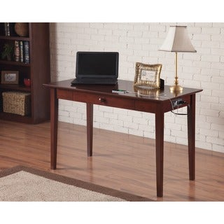 Atlantic Shaker Walnut Wood Desk With Drawer and Charging Station