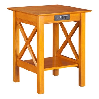 Atlantic Lexi Caramel Latte Wood Printer Stand With Charging Station