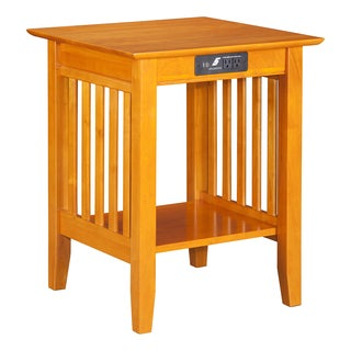 Atlantic Furniture Mission Caramel Latte Wood Printer Stand with USB Charging Station