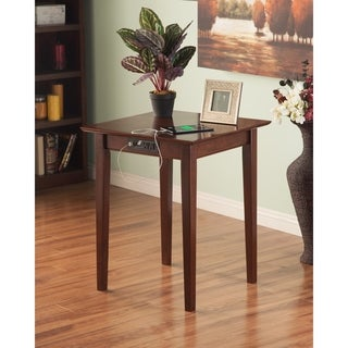 Atlantic Harvard Media Collection Walnut Wooden Shaker Printer Stand With Charging Station