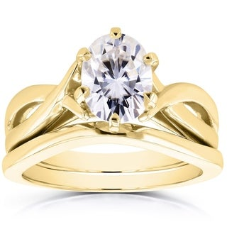 Annello 14k Yellow Gold Forever Brilliant Oval Moissanite Solitaire Bridal Rings Set