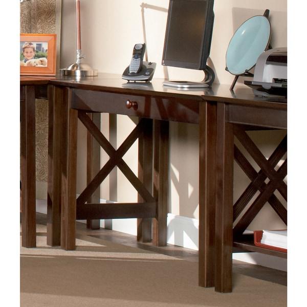 Atlantic Furniture Lexi Walnut Wood Writing Desk with Drawer
