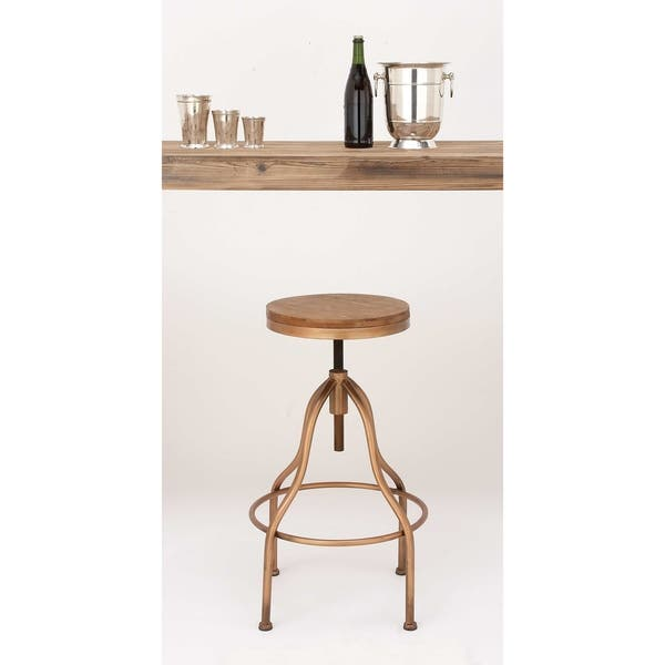 Pleasing Shop Metal And Wood Round Adjustable Height Vintage Bar Ibusinesslaw Wood Chair Design Ideas Ibusinesslaworg