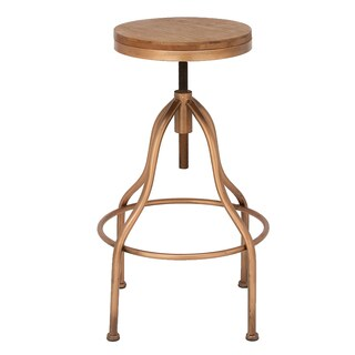 Urban Designs Copper Metal/Wood Round Adjustable-height Vintage Bar Stool