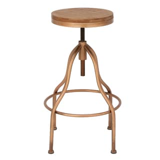 Urban Designs Copper Metal/Wood Round Adjustable Height Vintage Bar Stool