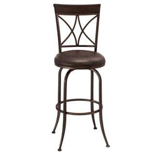 Hillsdale Furniture Killona Pewter Finish Metal/Faux Leather Swivel Bar Stool