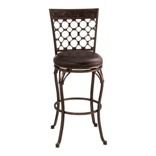 Hillsdale Furniture Brescello Charcoal Grey/Antique Pewter Metal/Faux Leather Swivel Counter Stool