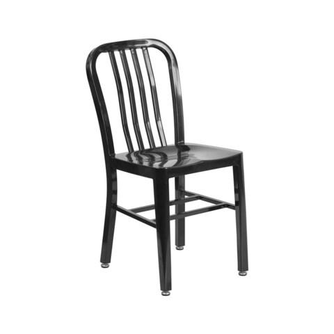 Offex Metal Home Indoor/Outdoor Adjustable Floor Glides Vertical Slat-back Chair