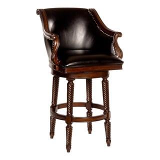 Hillsdale Furniture Hepburn Black/Dark Brown Faux Leather/Wood Bar Stool