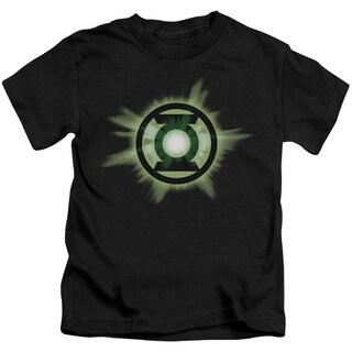 Green Lantern/Green Glow Short Sleeve Juvenile Graphic T-Shirt in Black