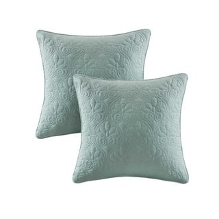Madison Park Mansfield Seafoam Quilted Square Throw Pillow Pair