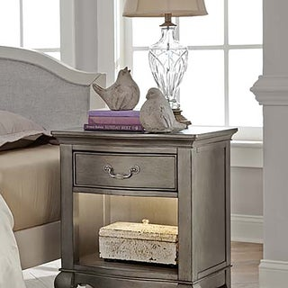 Kensington Antique Silver Nightstand with Lights