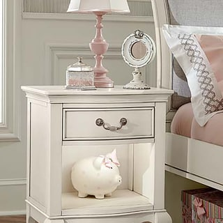 NE Kids Kensington Antique White Wood Nightstand With Built-in Nightlight