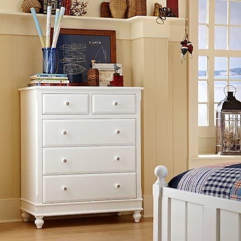 Lake House White 5-drawer Chest