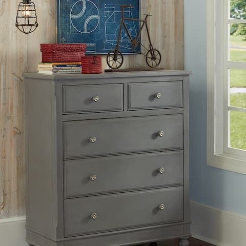 Lake House 5-Drawer Chest of Drawers in Stone Grey