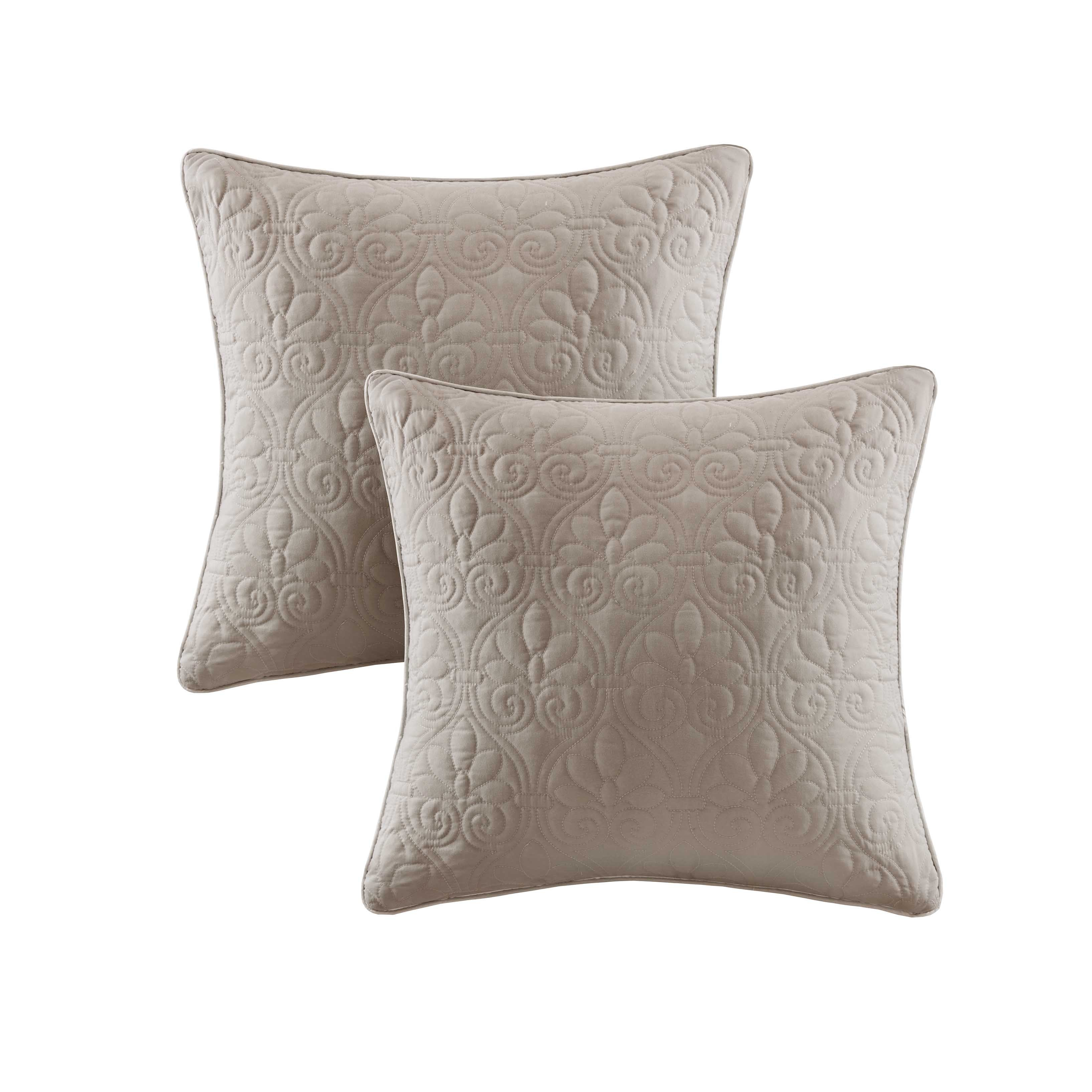 Madison Park Mansfield Khaki Quilted Square Throw Pillow Pair (20x20-Khaki)