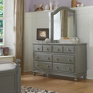 Lake House Stone Grey 8-Drawer Dresser with Mirror