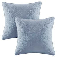 Madison Park Mansfield Blue Quilted Square Throw Pillow Pair